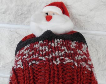 Hand Knitted Child's Multicoloured Winter Hat With A Santa Claus Figure On Top - Free Shipping