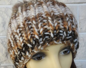 073ce289845b6 Hand Knitted Women s Brown And Cream Random Winter Hat With A Brown Pompom  - Free Shipping