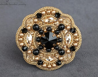 3daccd08f8f3 Gold and black statement brooch. Bead embroidery brooch with seed beads