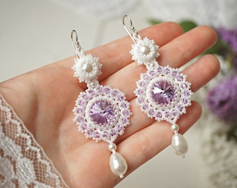 Bridal beaded earrings, long white beaded chandelier earrings with swarovski crystals and pearl drops, white and violet bead woven earrings