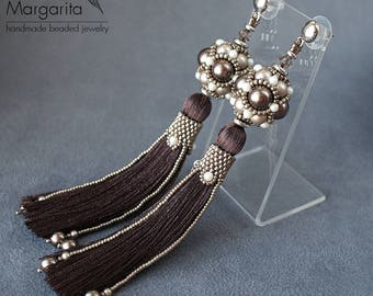 "Tassel earrings, long swarovski pearl earrings, beaded earrings, beadwork earrings, beadwoven earrings, bead weaving earrings ""Chocolate"""