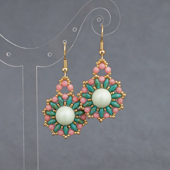 coral, green, pink, peach, or white Beaded boho style statement earrings