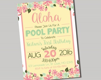 Aloha Birthday Invitation- PRINTABLE DIGITAL FILE