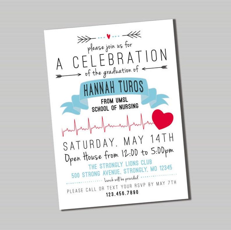Nursing Graduation Party Invitation Printable Digital File