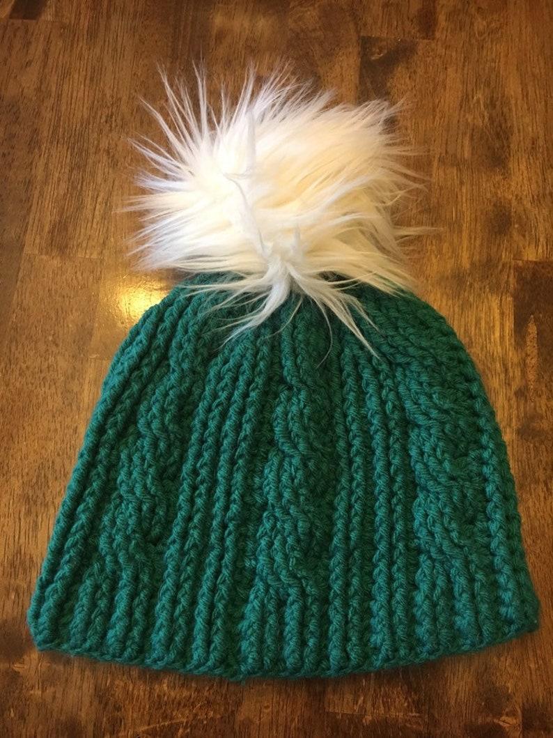 handmade crochet cable beanie with faux fur pom pom