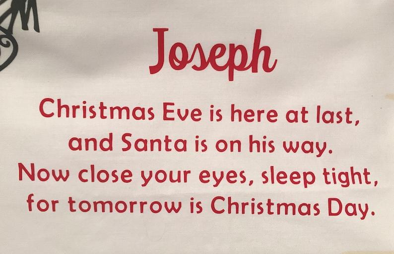 christmas themed home decor Christmas Eve box filler personalised Christmas pillowcase Christmas Eve pillowcase