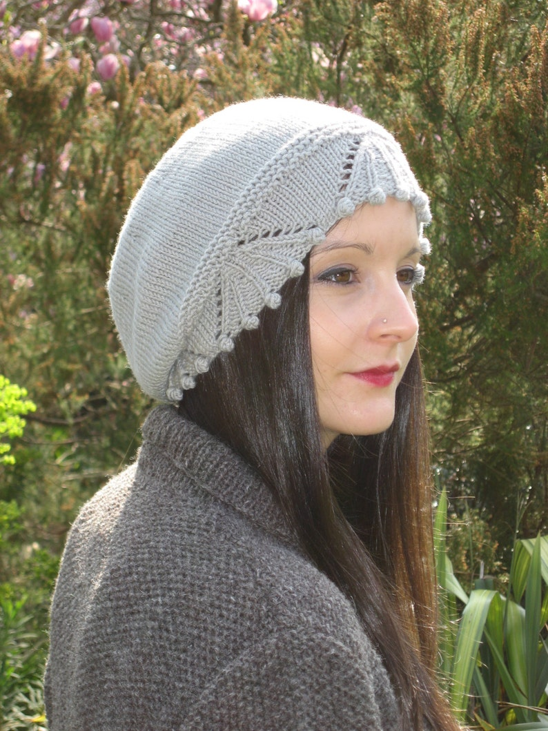 Vintage winter DK wool Bobble & Lace knitted beanie slouchy hat Knitting  pattern - DOWNLOAD PDF