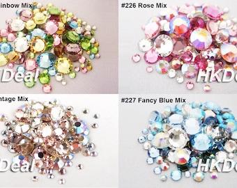 144 pieces Mix Size Mix Color Swarovski Rhinestone Flatback Crystal Assorted Colors DIY Nail Art Wedding Dress Decoration [4 Options]