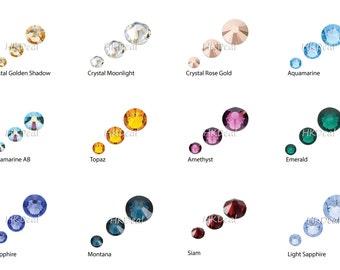 108 pieces Mix 3 sizes ss5 ss9 ss12 Swarovski Rhinestone Flatback Crystal DIY Nail Art Wedding Dress Decoration [48 Color Options]