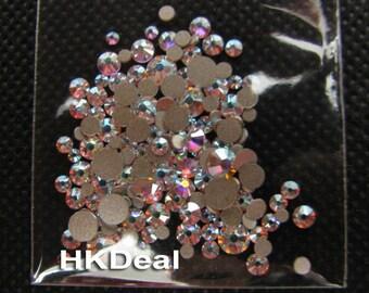 144 pieces Mix Size Swarovski Rhinestone Flatback Crystal AB ss5 ss7 ss9 ss12 ss16 DIY Nail Art Decoration #118