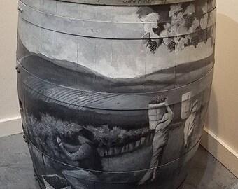 Artist hand-painted wine barrel