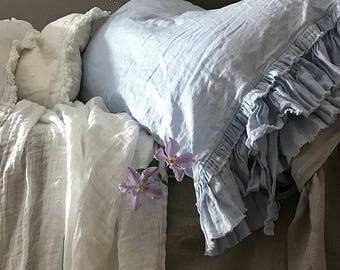 """Linen pillowcase 'Sauvage' with double frayed ruffle and ties. Shabby Chic Linen bedding, 20x24"""" 20x26"""" - sky blue color"""