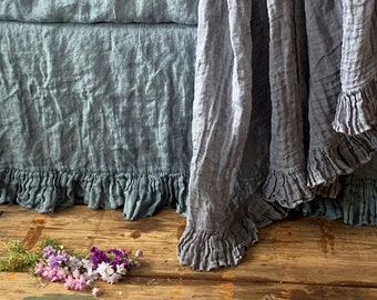 Linen blanket with ruffle Bed scarf Sisi - lavender-gray color.  Vintage style linen blanket throw. Shabby Chic bedding