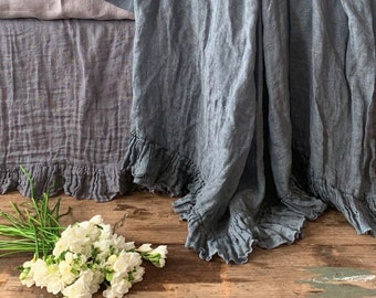 Linen blanket with ruffle Bed scarf Sisi - blue-gray color.  Vintage style linen blanket throw. Shabby Chic bedding