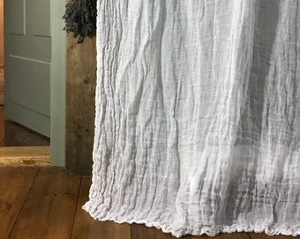 Linen curtain with ruffle 'Sisi'.  Vintage style sheer linen curtains. Long window curtain. Shabby Chic style
