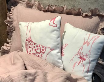 Unique Linen Baby/Kid set, ruffles duvet cover and pillowcase - baby bedding set - powder pink - Shabby Chic bedding