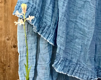 Linen blanket with ruffle Bed scarf Sisi - turqoise-blue color.  Limited edition!! Vintage style linen blanket throw. Shabby Chic bedding