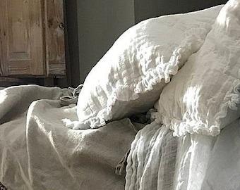 Linen ruffle pillow case 'Sisi', white, gray, purple pillow case. Sheer linen pillow case.