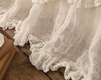"Linen BED SKIRT 'Sisi' - Dust Ruffle Sheer linen bed skirt with 3"" ruffle - Gathered bed skirt Shabby Chic bedding"