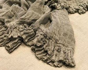 Linen blanket with ruffles Bed scarf Sisi.  Frills throw. Vintage style linen blanket throw. Shabby Chic bedding