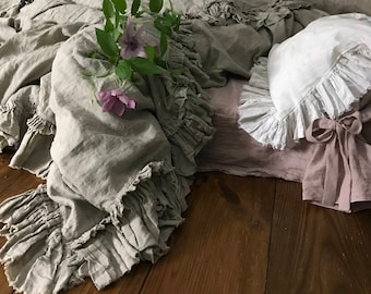 Pure Linen duvet cover 'Sauvage' with ruffles and ties - linen bedding Queen King size or CUSTOM SIZES - natural / taupe color