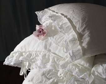 """Pure linen pillowcase 'Madeleine' with ruffle and ties. Linen bedding, 20x24"""" 20x26"""" 26x26"""" 20x30"""" 20x36"""" white linen french style bedding"""