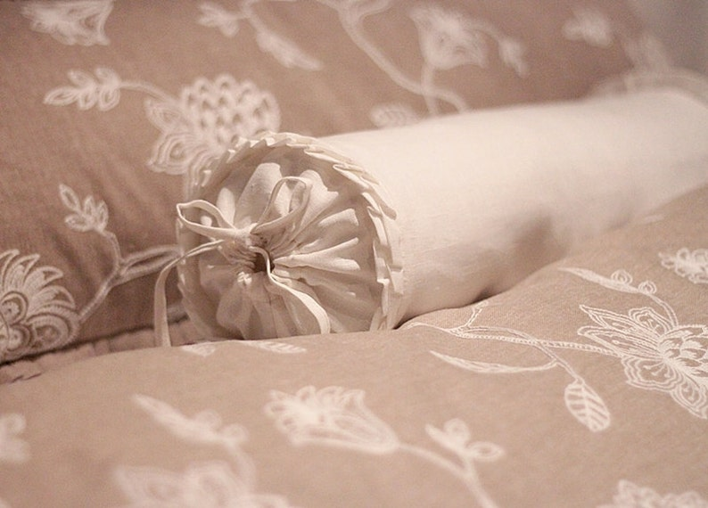 Linen decorative/functional bolster  ruffles bolster image 0