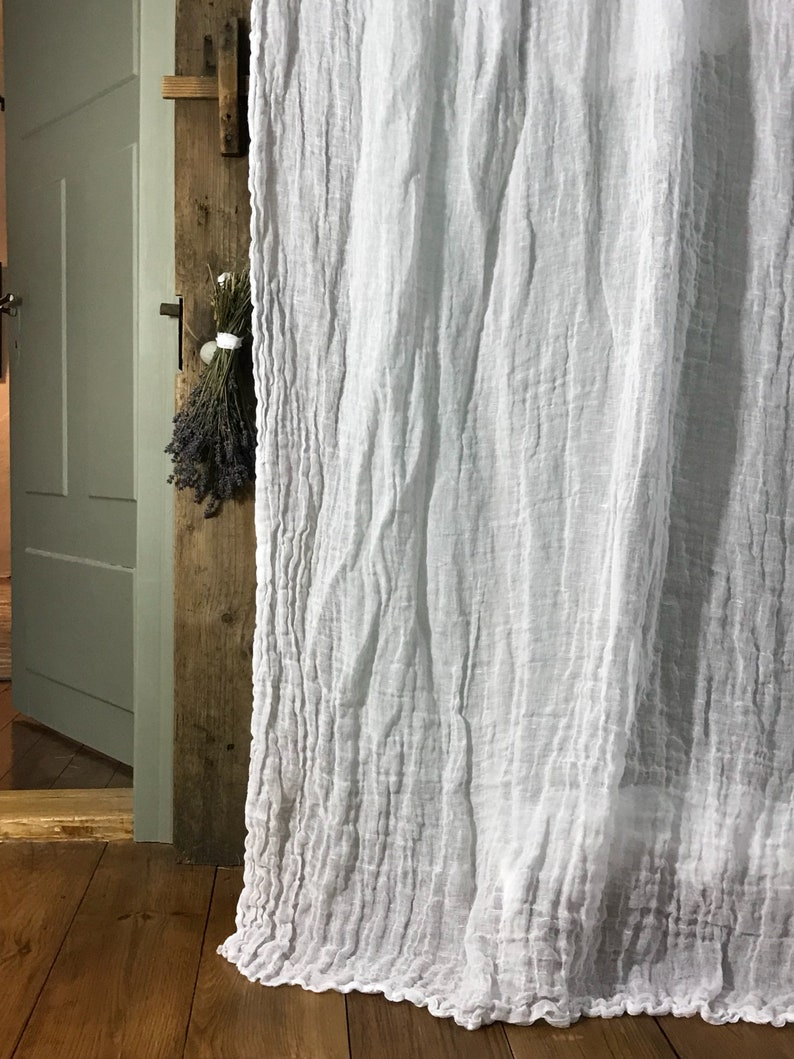 Linen curtain with ruffle 'Sisi'.  Vintage style sheer image 0