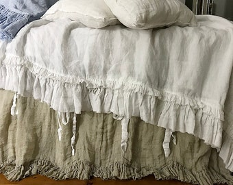 Pure Linen duvet cover 'Sauvage' with ruffle and ties - linen bedding Queen King size or CUSTOM SIZES - natural / taupe color