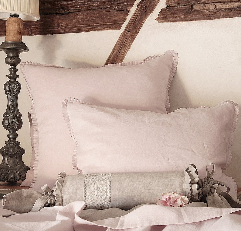 Luxury linen pillowcase 4 edges with 1 pleated  linen image 0