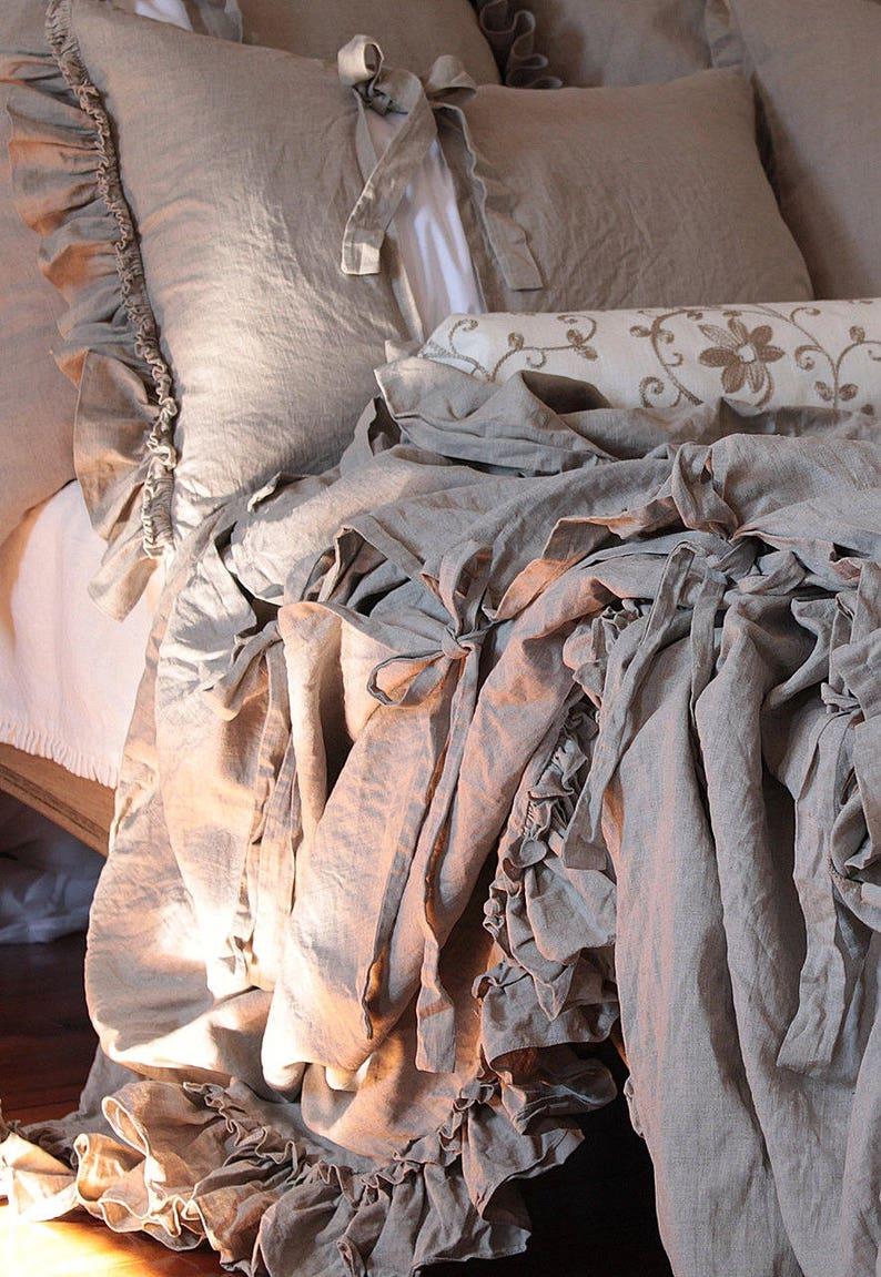 LINEN DUVET COVER 'Diane'. Shabby Chic linen bedding image 0