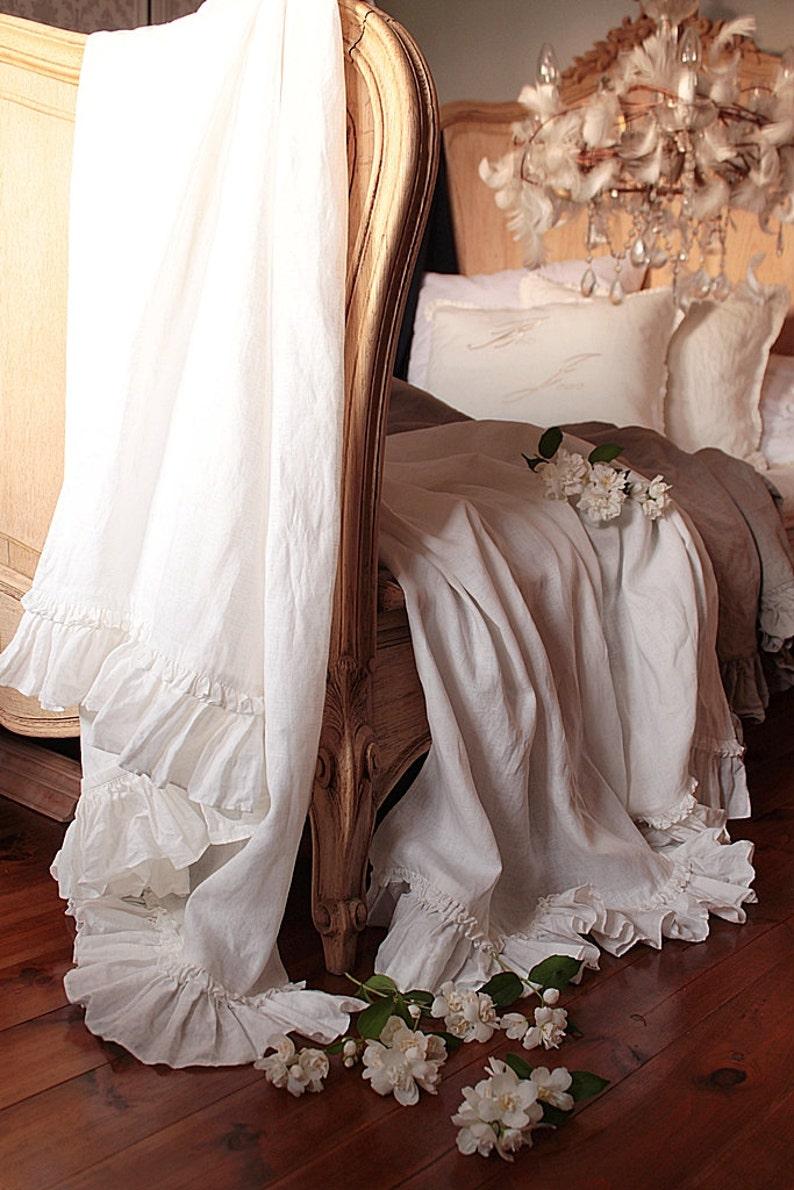 Linen  Bed scarf 'Diane'  summer blanket-Vintage image 0