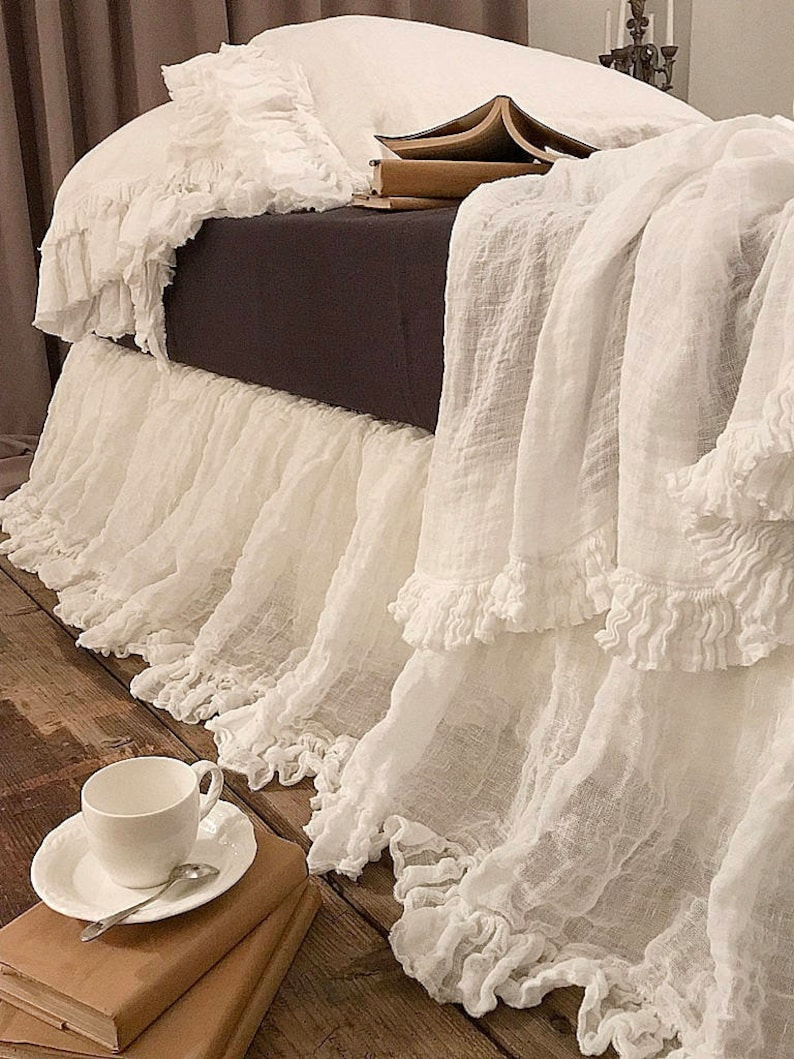 Linen BED SKIRT 'Sisi'  Dust Ruffle Sheer linen bed image 0