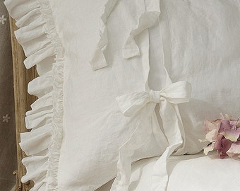 "Pre-washed linen pillowcase 'Diane' with double ruffles and ties. Linen bedding, 20x24"" 20x26"" 26x26"" 20x30"" 20x36"" white or gray."