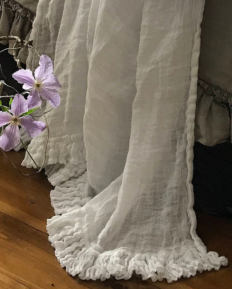 Linen blanket with ruffles Bed scarf Sisi.  Vintage style image 0