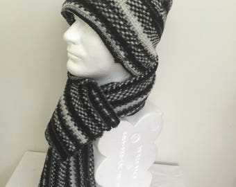 Gentleman s Black and White Wool Beanie Hat and Scarf Set. Men s Winter  Slouchy Hat and Scarf. Italian Wool Knit Scarves and Scarves. Gifts. 3655c0ccf41a