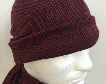 Gentleman s Burgundy Slouchy Hat and Scarf Set. Men s Dark Red Herringbone  Knit Beanie Hat and Scarf. Wine Fall Winter Hat and Scarf Gifts 5154fefcb71