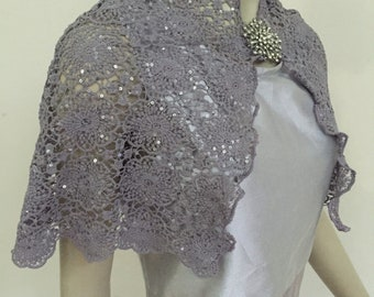 5f857f73981 Elegant Silver Grey Sequin Crochet Lace Cape. Knitted Glittery Wedding Shrug.  Fancy Bridal Cape. Women's Formal Covers. Size 2-4 (S-4).