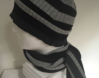 c2083021 Gentleman's Gray Slouchy Hat and Scarf Set. Men's Grey Knit Beanie Hat and  Scarf. Grey Stripe Fall/Winter Hats and Scarves. Gifts for Him.