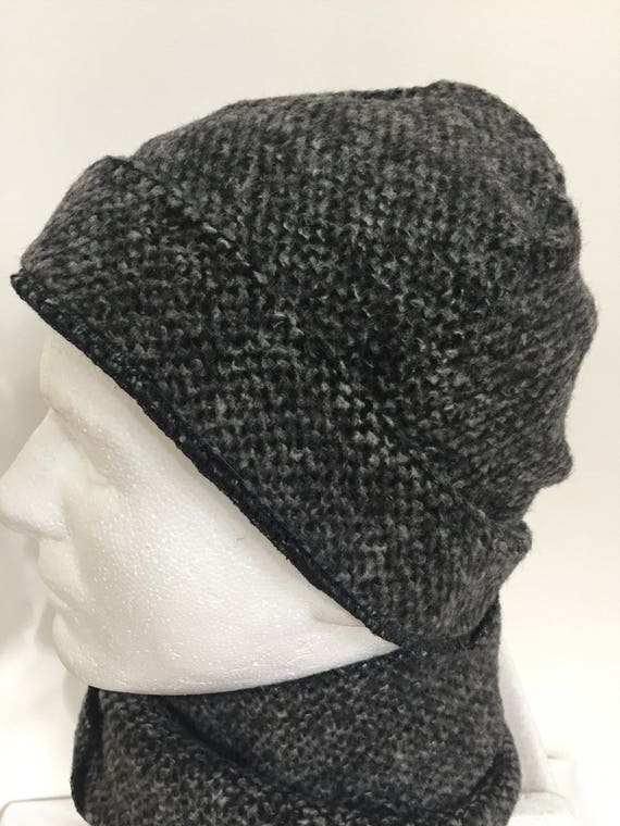 Grey Wool Men s Beanie Hat and Scarf Set. Knitted Wool  954006fa5f1