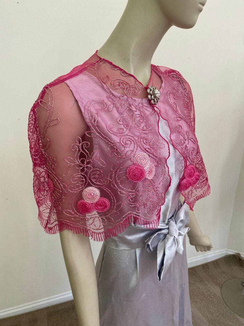 Fancy Bridal Cape Elegant Fuchsia and Silver Lace Cape Custom Sizes Available. Glittery Hot Pink Wedding Shrug Women/'s Formal Covers