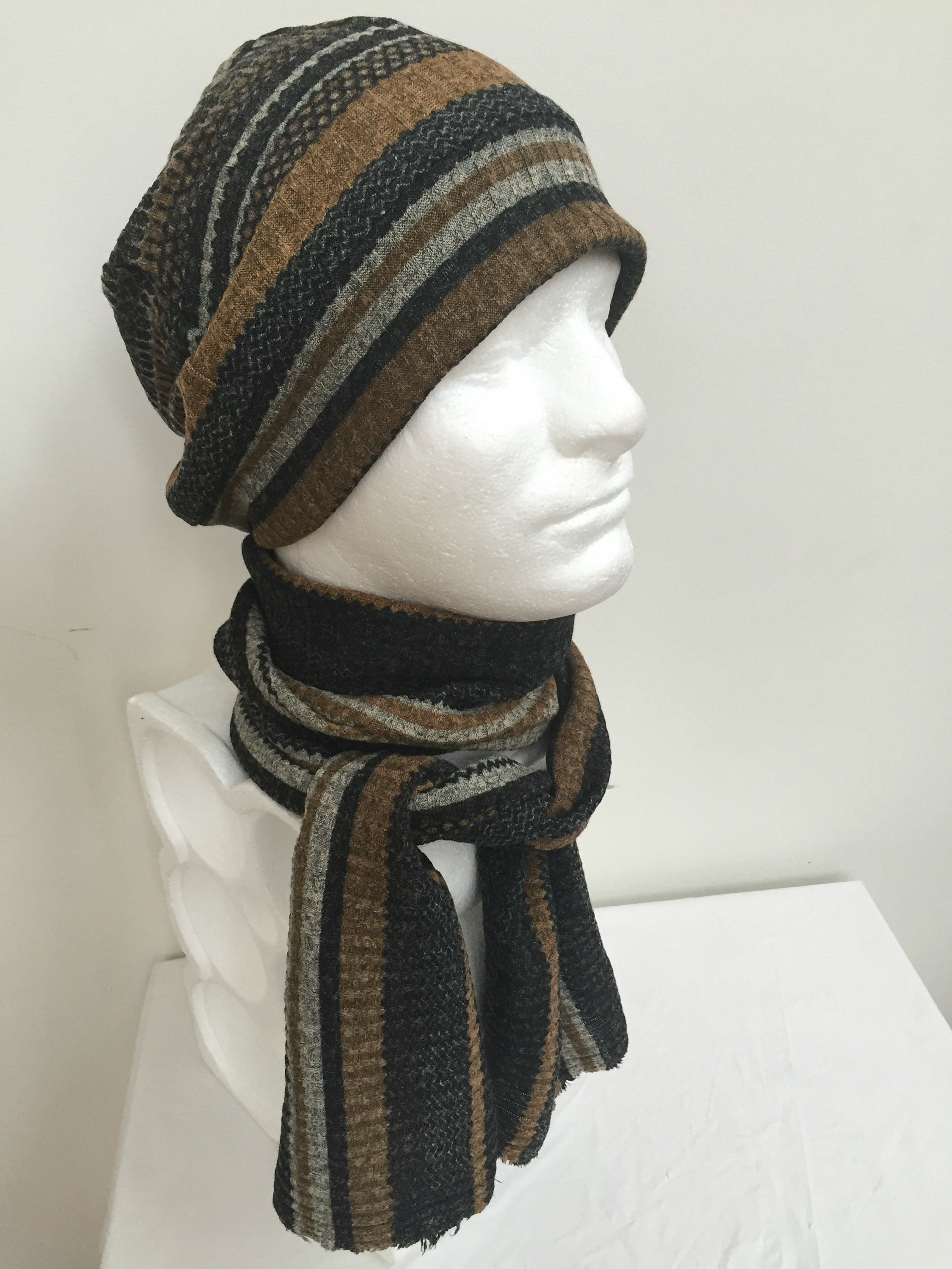 Gentleman s Acrylic Tan Slouchy Hat and Scarf Set. Men s Brown Knit Beanie  Hat and Scarf. Grey Stripe Fall Winter Hat and Scarf Gifts cb173132951