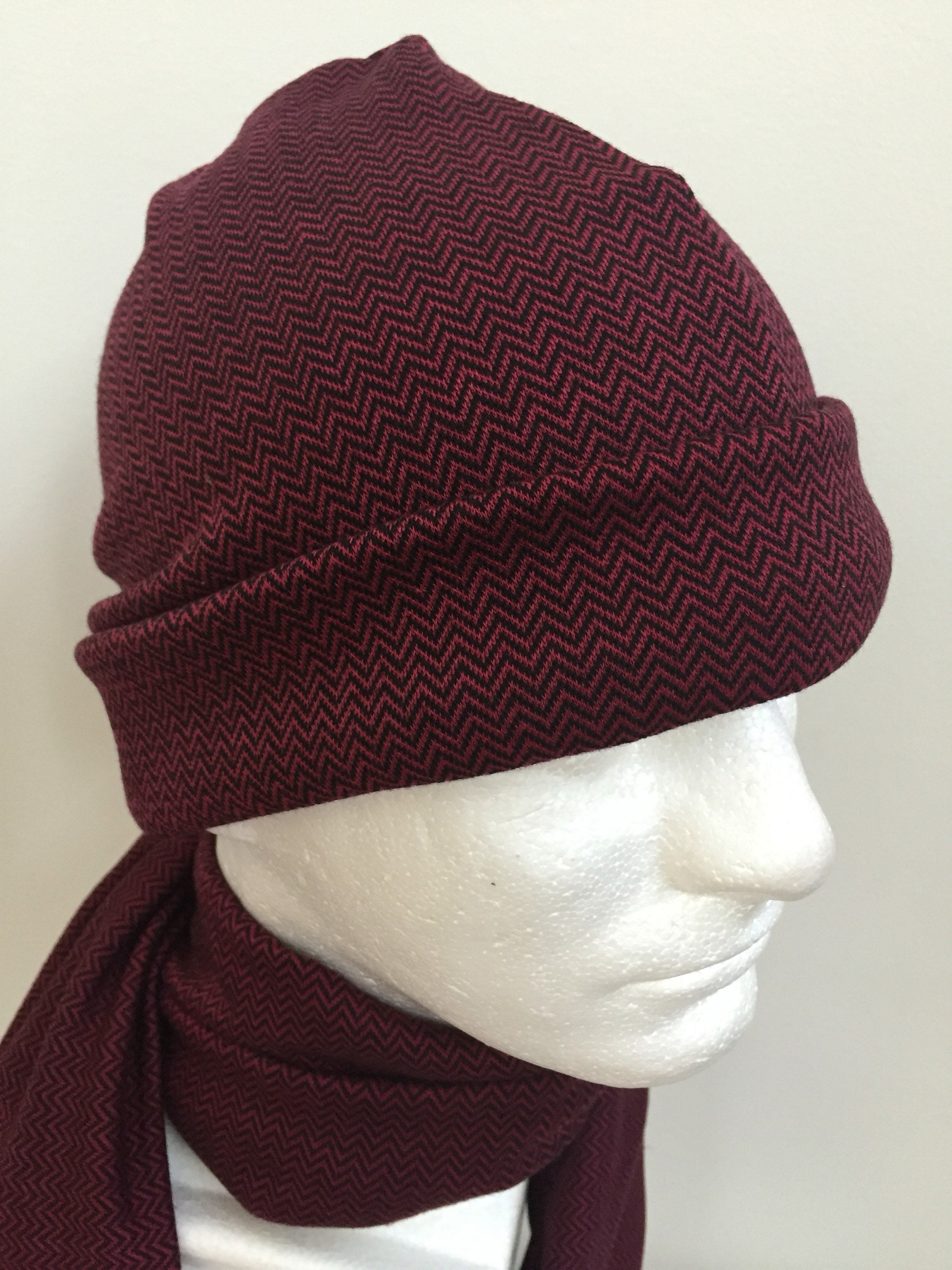 Gentleman s Burgundy Slouchy Hat and Scarf Set. Men s  fa67d546e58