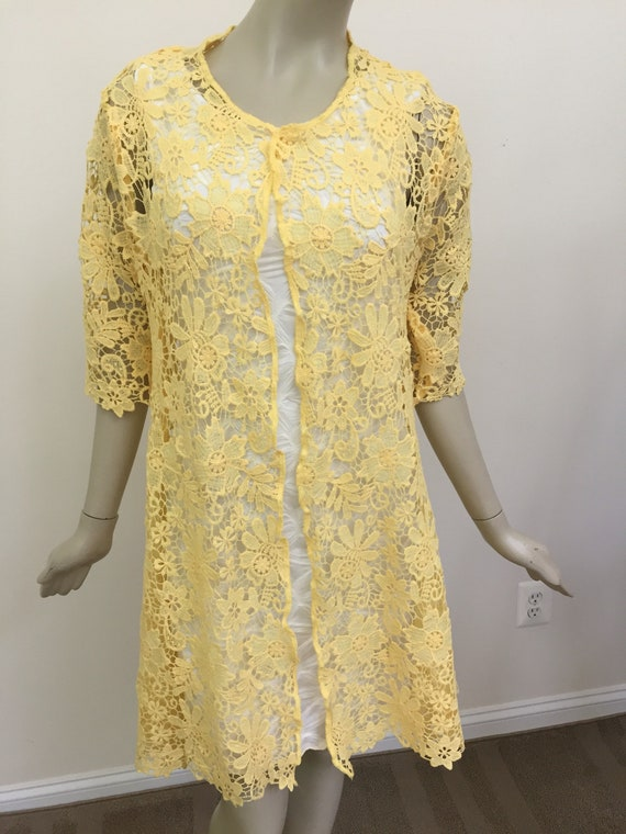 Yellow Floral Guipure Type Lace Dress Jacket Womens Embroidered Lace Jacket Elegant Lace Duster With Half Sleeves Fine Layering Pieces