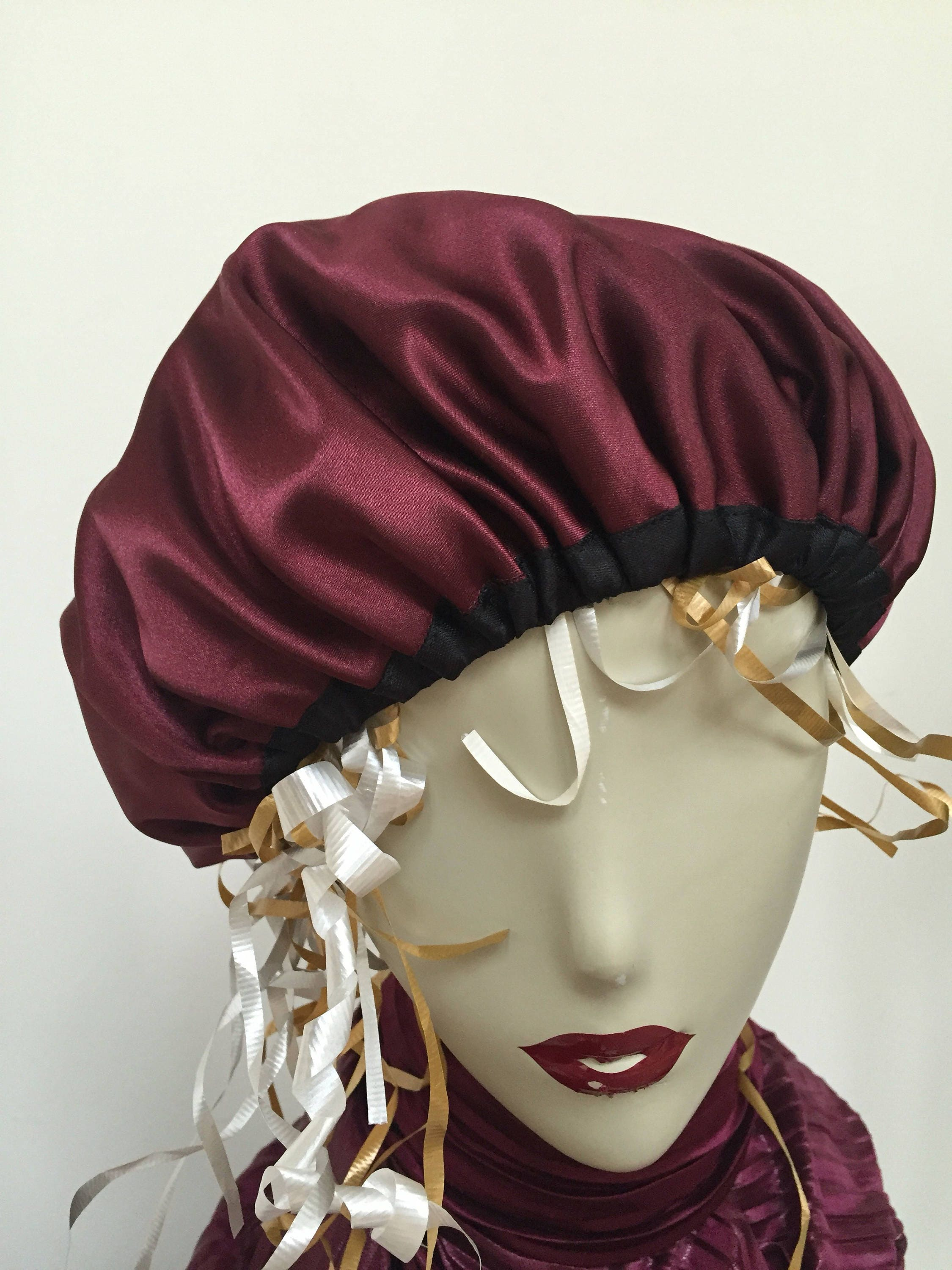 Woman's Burgundy Satin Sleep Cap. Fancy Wine Night Hat with Black Satin  Trim. One Adult Size. Christmas Holiday Gifts for Women.