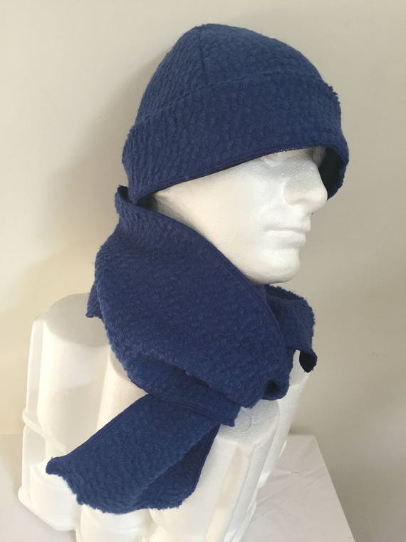 Gentleman s Blue Wool Beanie Hat and Scarf Set. Italian  977e104f706