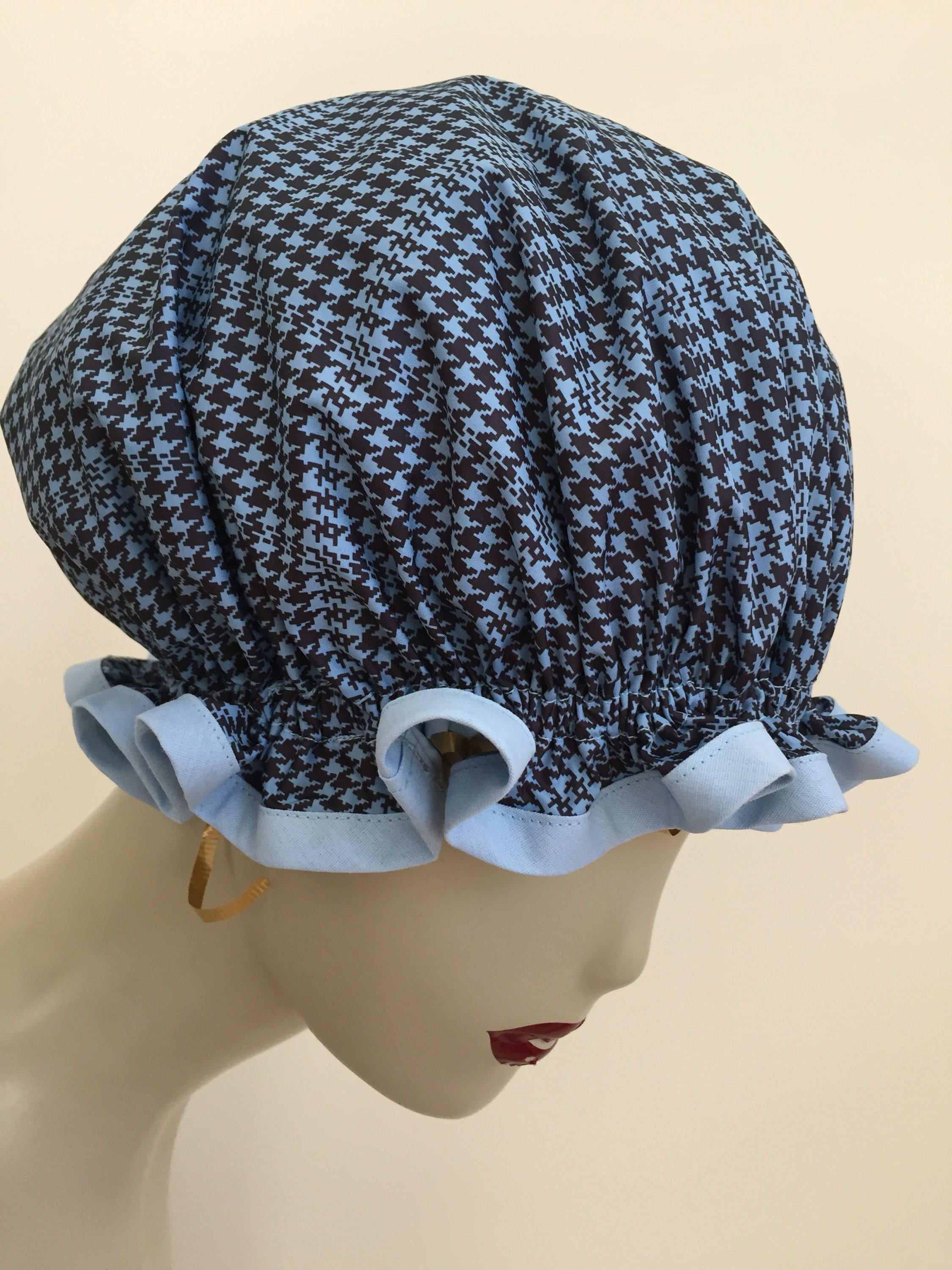 Sky Blue and Black Houndstooth Vintage Shower Caps. Poly-cotton Trim ...