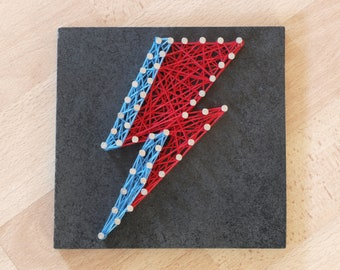 David Bowie Aladdin Sane lightning bolt string art