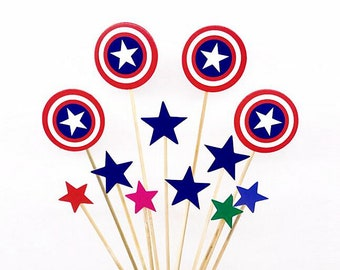 24 Pieces 4th of July Cupcake Toppers Picks for Birthday Special Occasion Decorations DIY Party Supplies