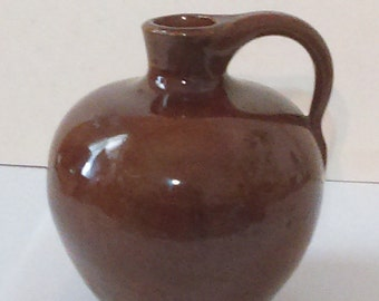 """Early Brown Glazed Clay 3 1/2"""" Tall Mini Jug with Applied Tapered Handle"""